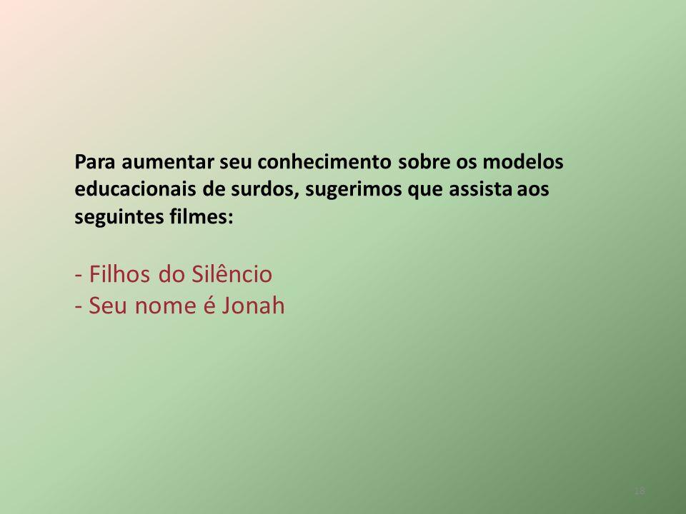 - Filhos do Silêncio - Seu nome é Jonah