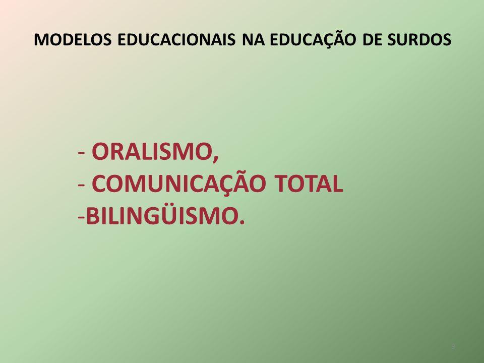 - ORALISMO, - COMUNICAÇÃO TOTAL BILINGÜISMO.