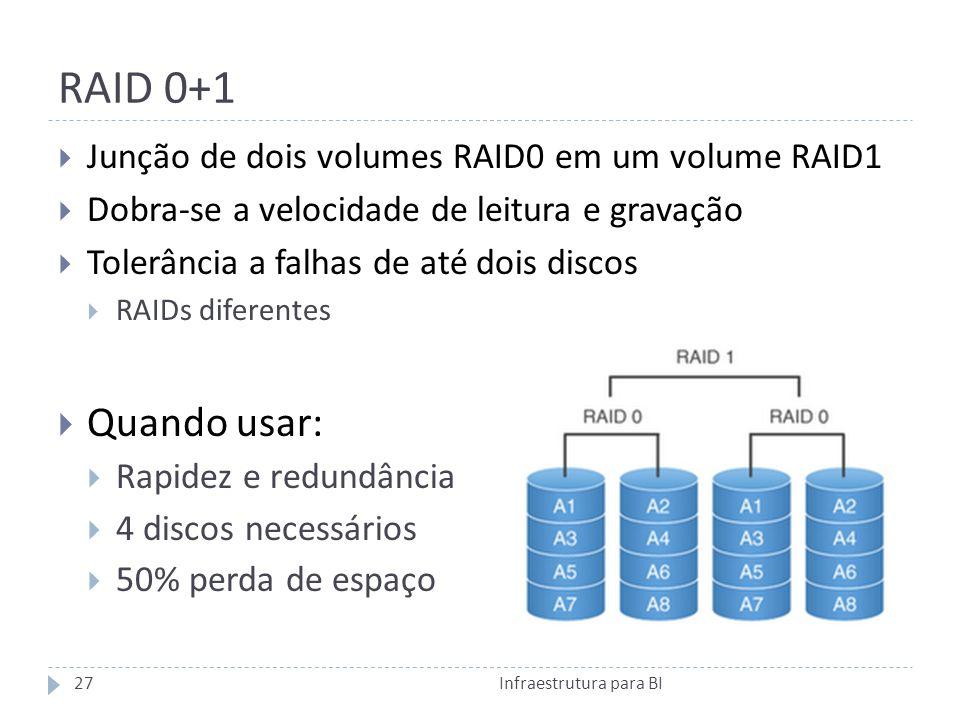 RAID 0+1 Quando usar: Junção de dois volumes RAID0 em um volume RAID1