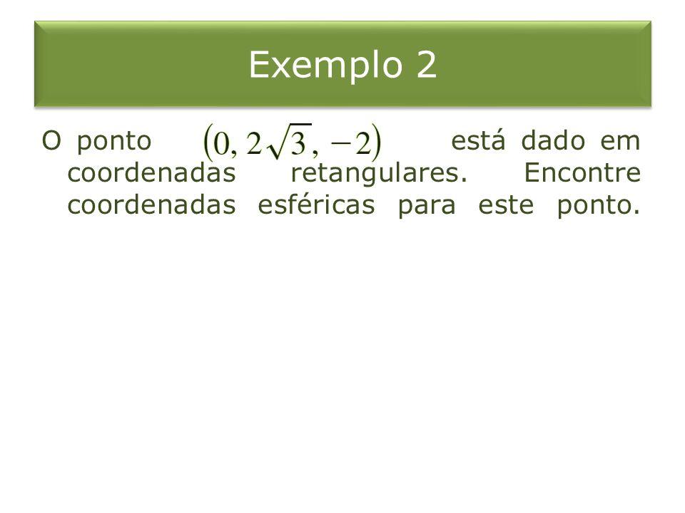 Exemplo 2 O ponto está dado em coordenadas retangulares.