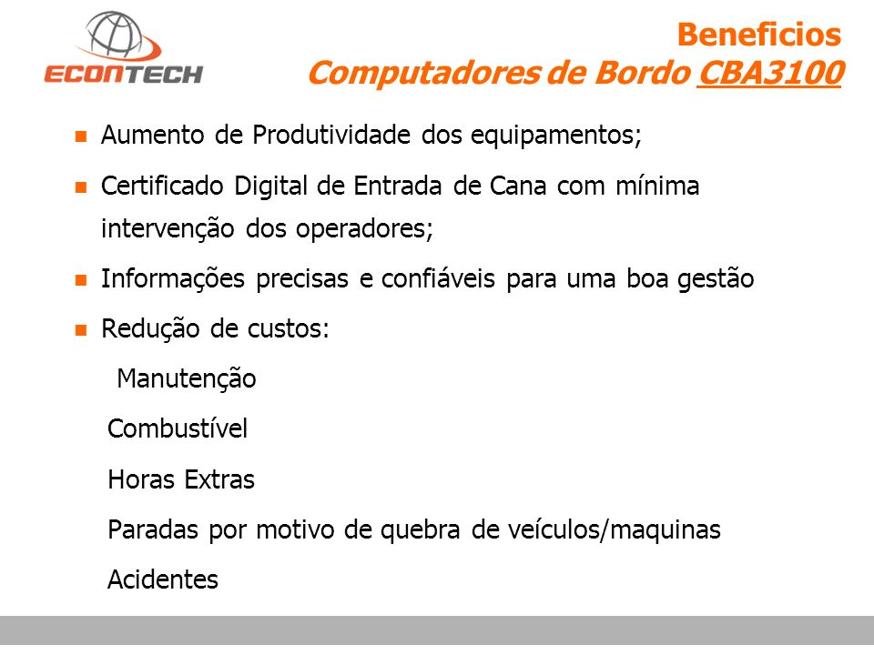 Beneficios Computadores de Bordo CBA3100