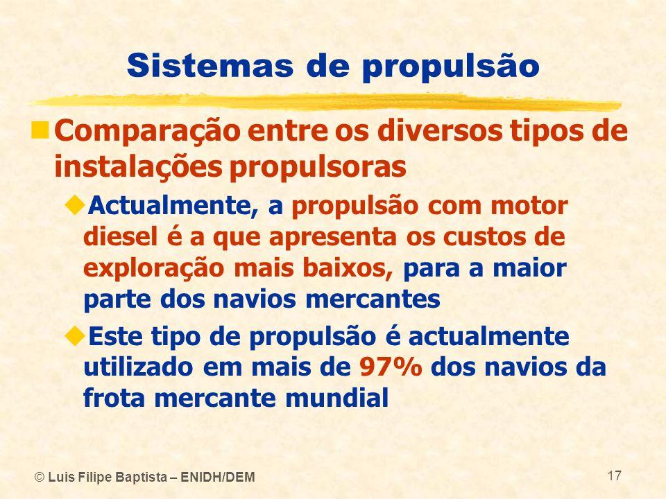 Sistemas de propulsão Comparação entre os diversos tipos de instalações propulsoras.