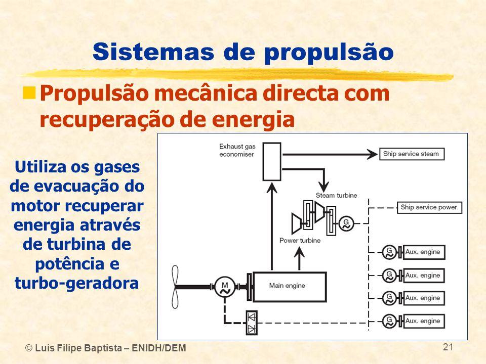 Sistemas de propulsão Propulsão mecânica directa com recuperação de energia.
