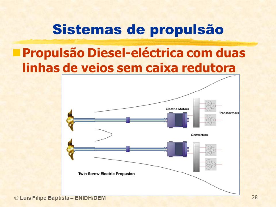 Sistemas de propulsão Propulsão Diesel-eléctrica com duas linhas de veios sem caixa redutora.