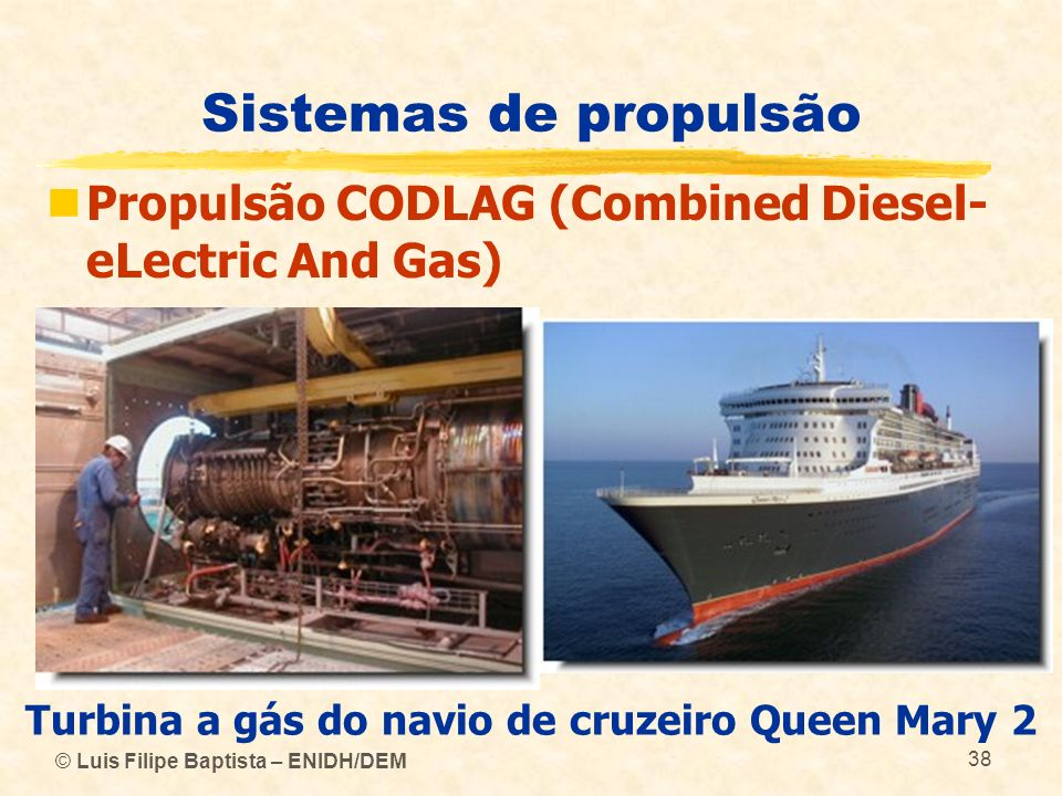 Turbina a gás do navio de cruzeiro Queen Mary 2