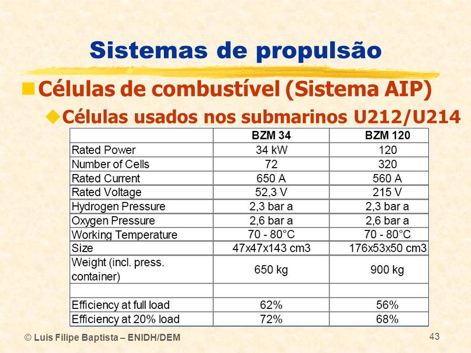 Sistemas de propulsão Células de combustível (Sistema AIP)