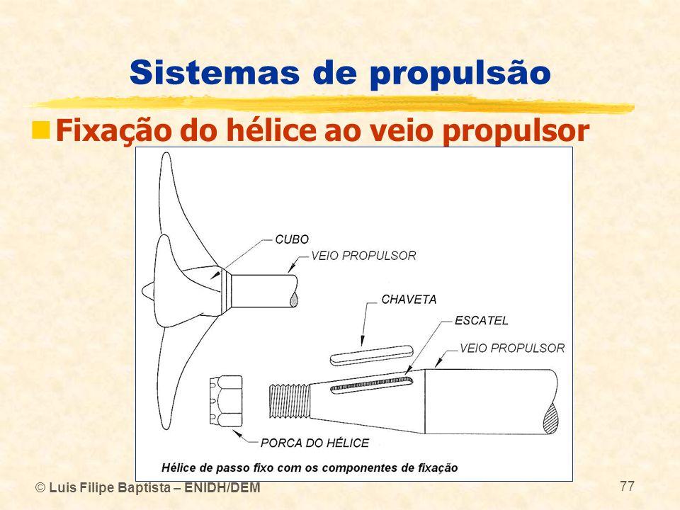 Sistemas de propulsão Fixação do hélice ao veio propulsor
