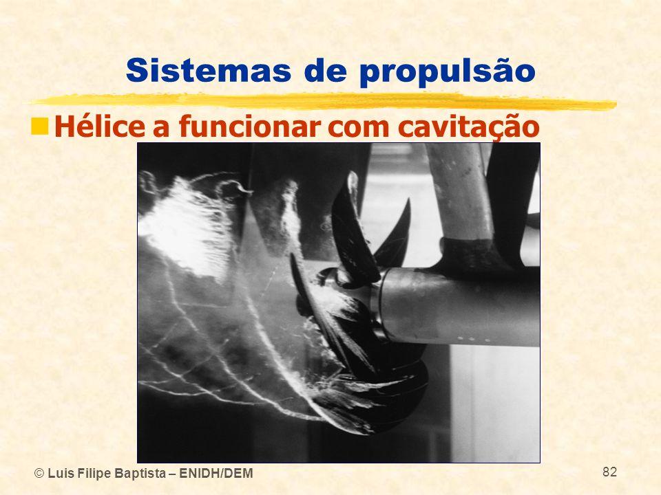 Sistemas de propulsão Hélice a funcionar com cavitação