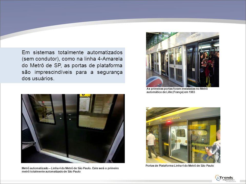Em sistemas totalmente automatizados (sem condutor), como na linha 4-Amarela do Metrô de SP, as portas de plataforma são imprescindíveis para a segurança dos usuários.