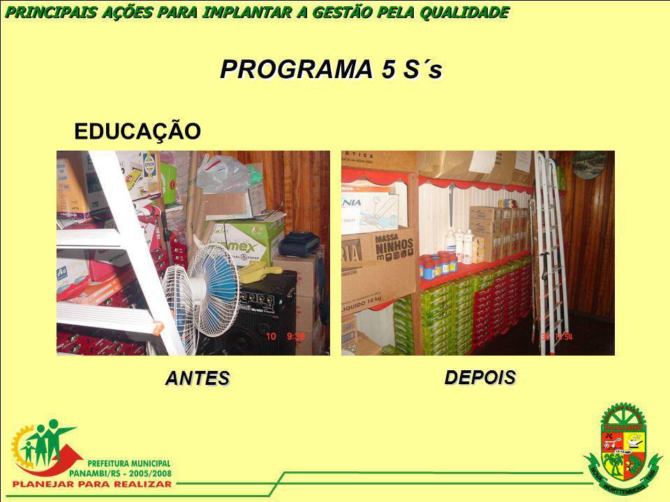 PROGRAMA 5 S´s EDUCAÇÃO ANTES DEPOIS