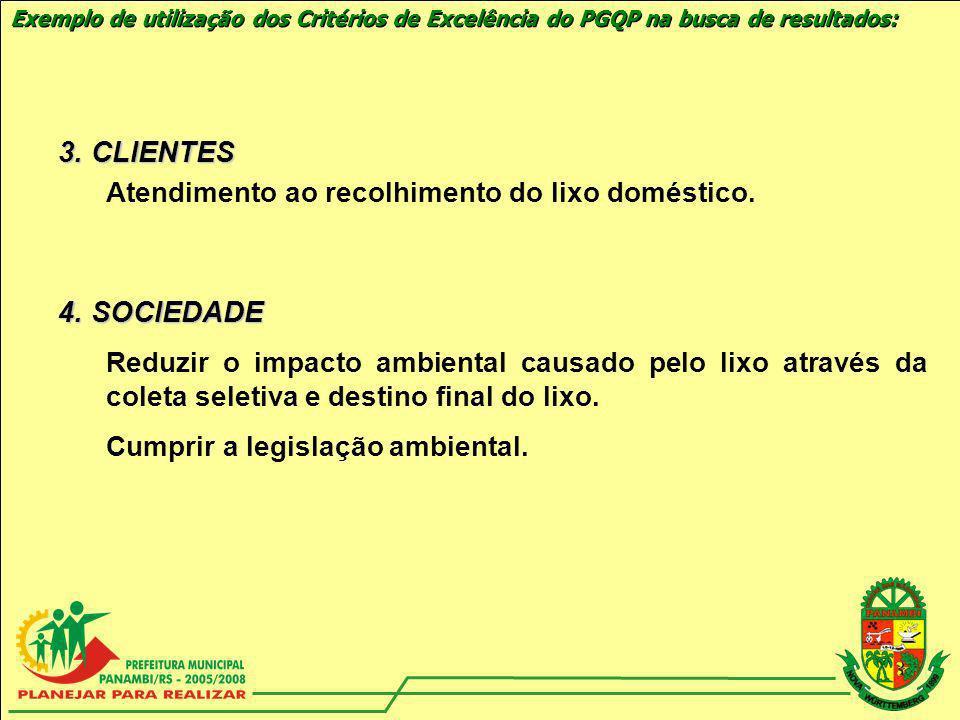 Exemplo de utilização dos Critérios de Excelência do PGQP na busca de resultados: