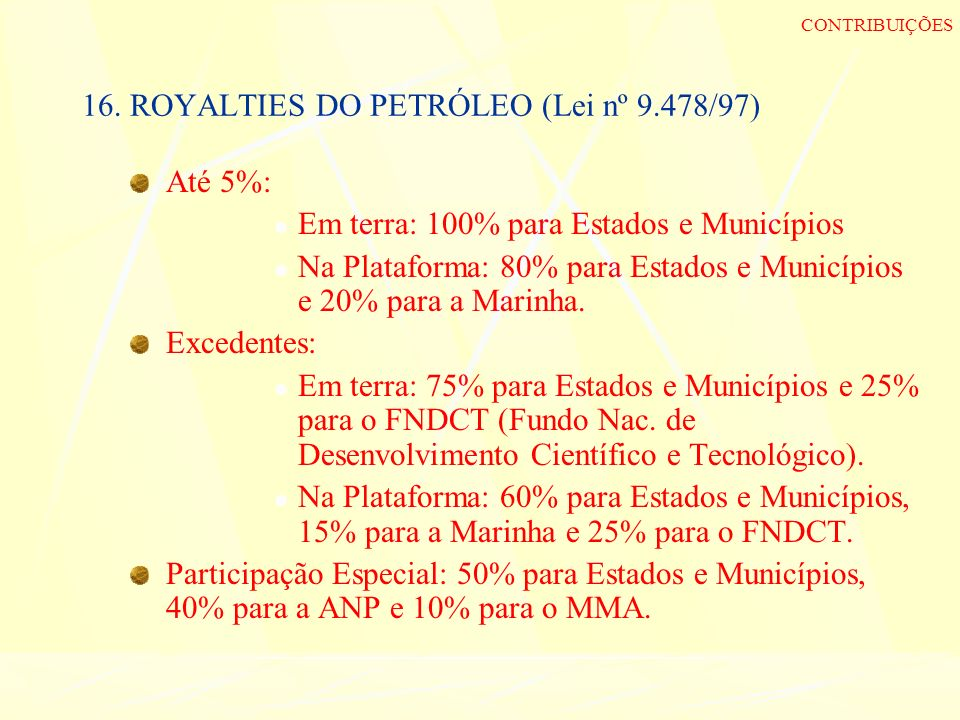 16. ROYALTIES DO PETRÓLEO (Lei nº 9.478/97)