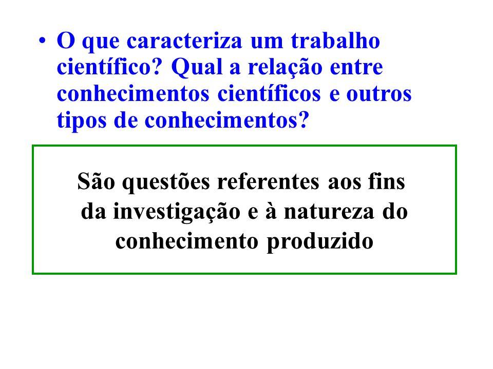 São questões referentes aos fins da investigação e à natureza do