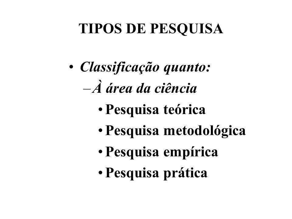 TIPOS DE PESQUISA Classificação quanto: À área da ciência. Pesquisa teórica. Pesquisa metodológica.