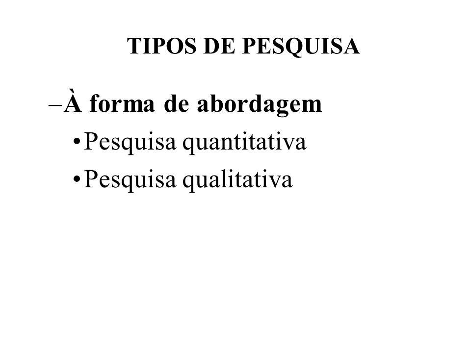 Pesquisa quantitativa Pesquisa qualitativa