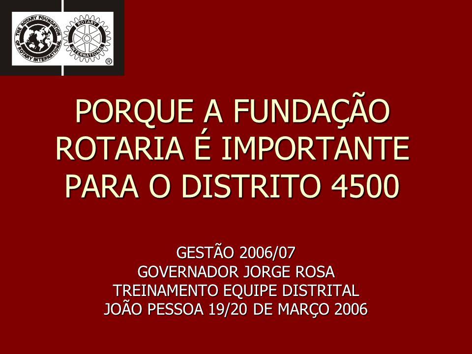 PORQUE A FUNDAÇÃO ROTARIA É IMPORTANTE PARA O DISTRITO 4500