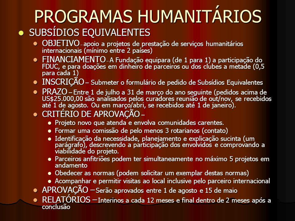 PROGRAMAS HUMANITÁRIOS
