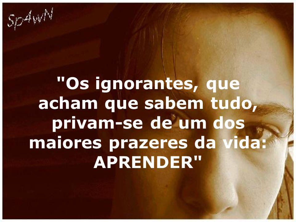 Os ignorantes, que acham que sabem tudo, privam-se de um dos maiores prazeres da vida: APRENDER