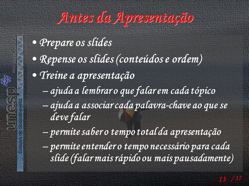 Antes da Apresentação Prepare os slides