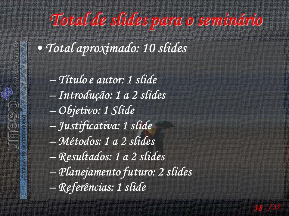 Total de slides para o seminário