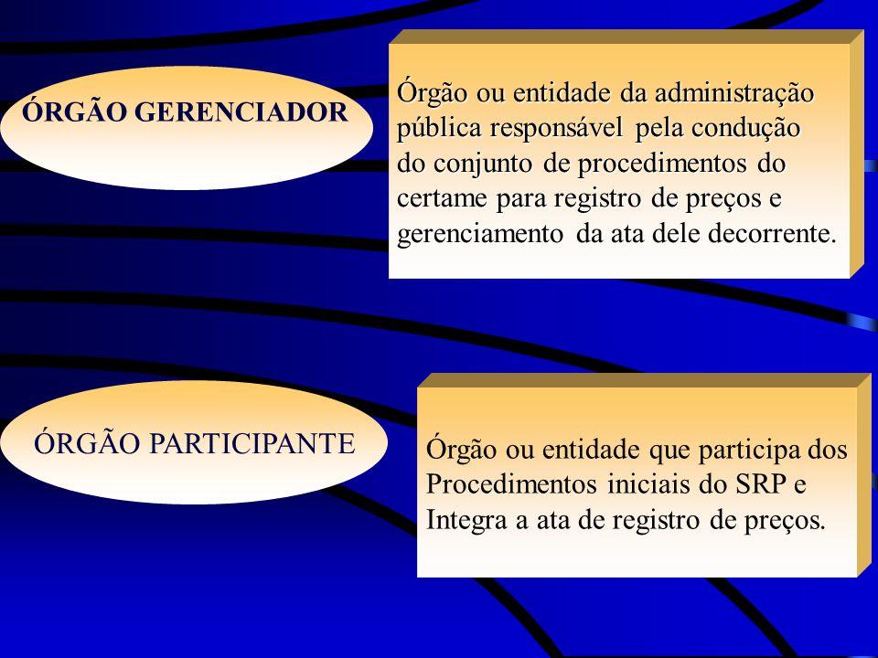 ÓRGÃO PARTICIPANTE Órgão ou entidade da administração