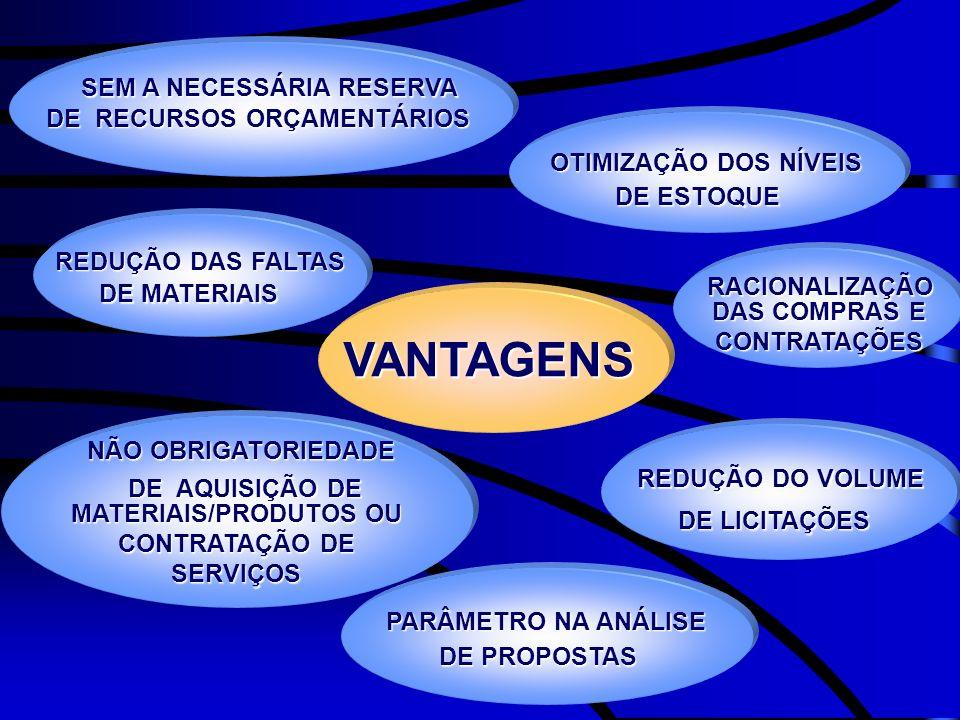 VANTAGENS SEM A NECESSÁRIA RESERVA DE RECURSOS ORÇAMENTÁRIOS