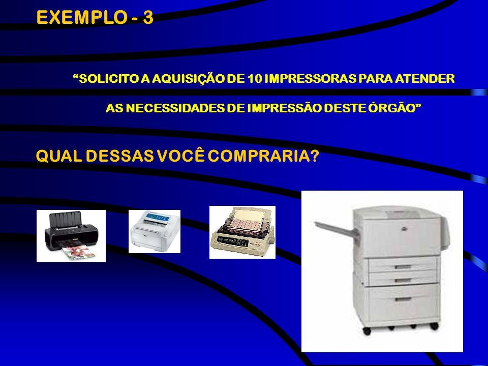 EXEMPLO - 3 QUAL DESSAS VOCÊ COMPRARIA