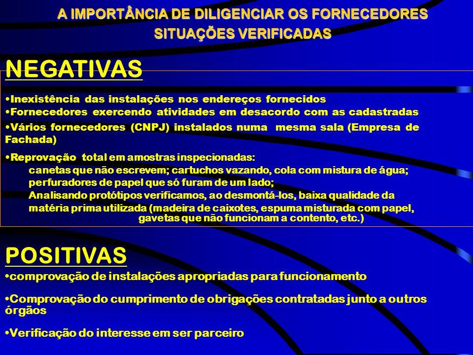 NEGATIVAS POSITIVAS A IMPORTÂNCIA DE DILIGENCIAR OS FORNECEDORES