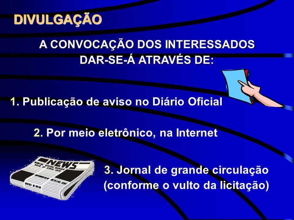 DIVULGAÇÃO A CONVOCAÇÃO DOS INTERESSADOS DAR-SE-Á ATRAVÉS DE: