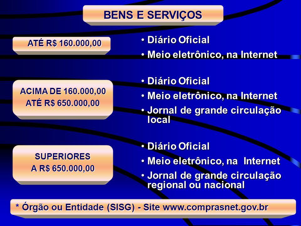 BENS E SERVIÇOS Diário Oficial Meio eletrônico, na Internet