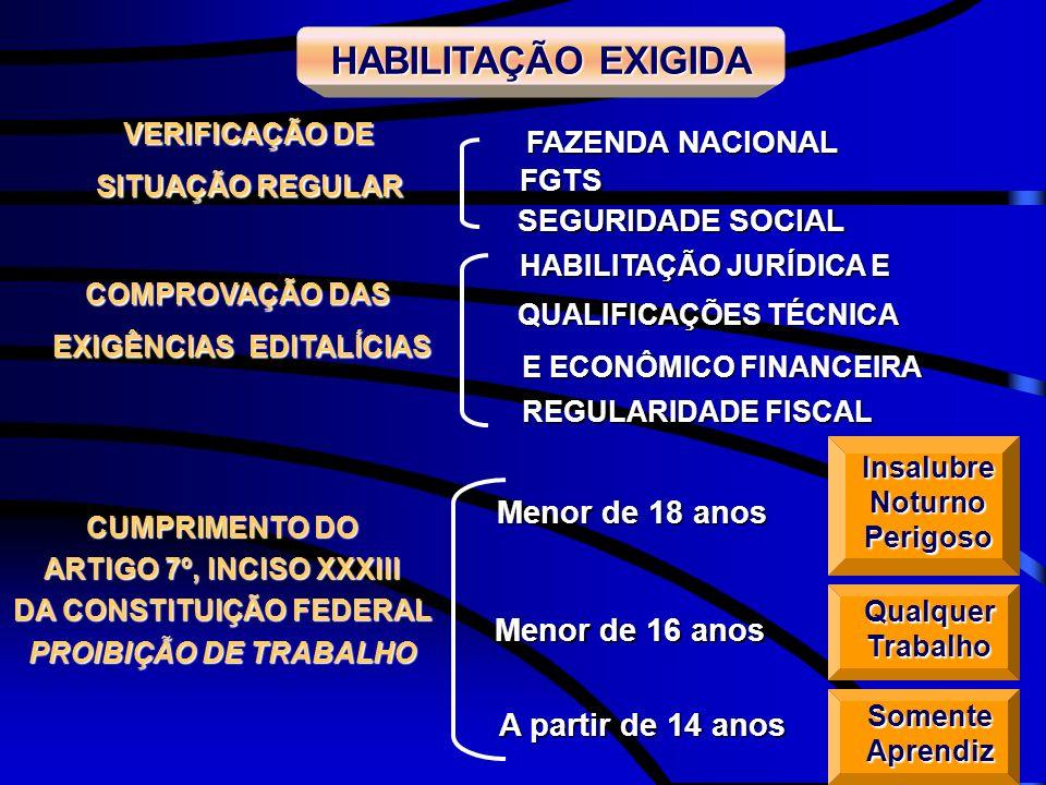HABILITAÇÃO JURÍDICA E QUALIFICAÇÕES TÉCNICA