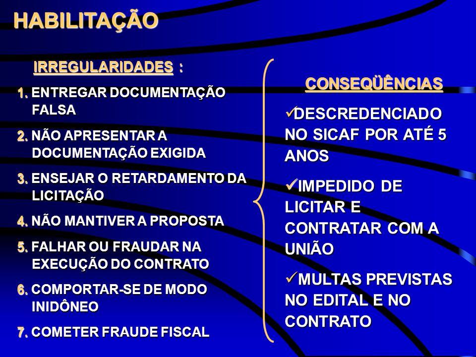 HABILITAÇÃO CONSEQÜÊNCIAS DESCREDENCIADO NO SICAF POR ATÉ 5 ANOS