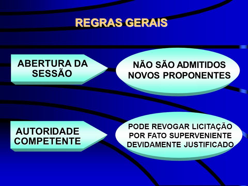 REGRAS GERAIS ABERTURA DA SESSÃO AUTORIDADE COMPETENTE