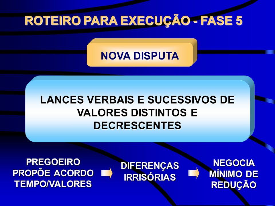 LANCES VERBAIS E SUCESSIVOS DE VALORES DISTINTOS E DECRESCENTES