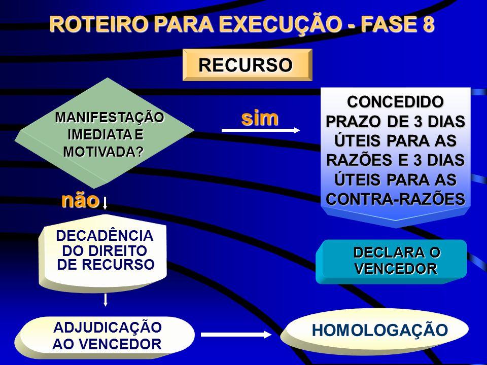 ROTEIRO PARA EXECUÇÃO - FASE 8