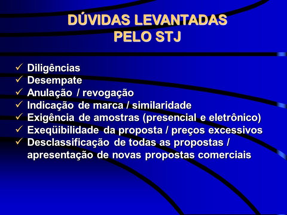 DÚVIDAS LEVANTADAS PELO STJ
