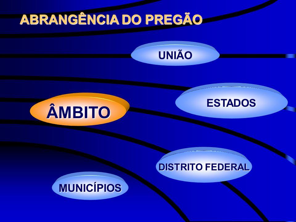 ABRANGÊNCIA DO PREGÃO UNIÃO ESTADOS ÂMBITO DISTRITO FEDERAL MUNICÍPIOS