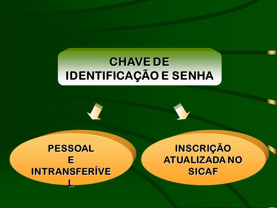 CHAVE DE IDENTIFICAÇÃO E SENHA INSCRIÇÃO ATUALIZADA NO SICAF
