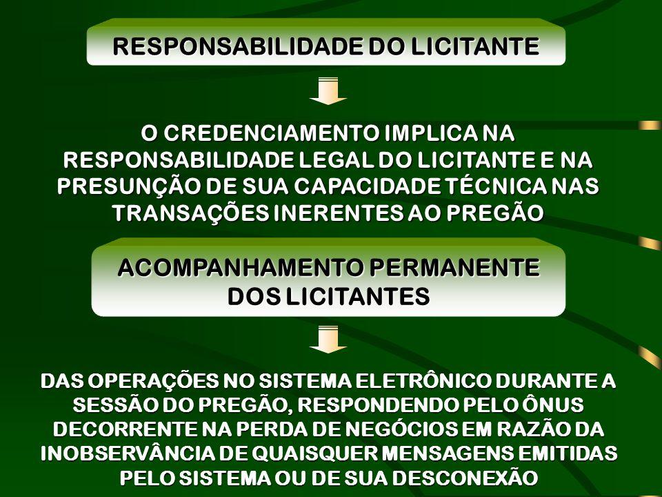 RESPONSABILIDADE DO LICITANTE ACOMPANHAMENTO PERMANENTE DOS LICITANTES