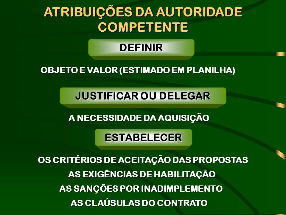 ATRIBUIÇÕES DA AUTORIDADE COMPETENTE