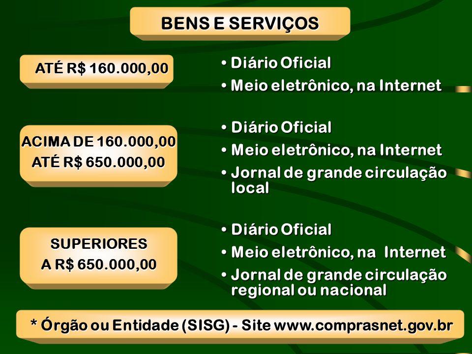 * Órgão ou Entidade (SISG) - Site www.comprasnet.gov.br