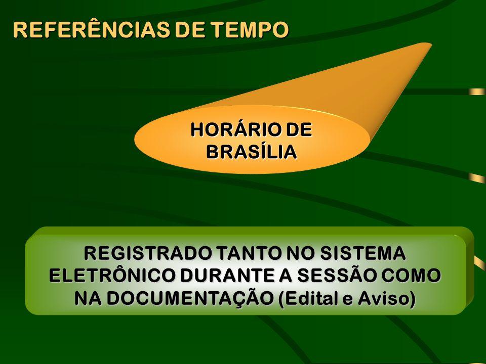REFERÊNCIAS DE TEMPO HORÁRIO DE BRASÍLIA