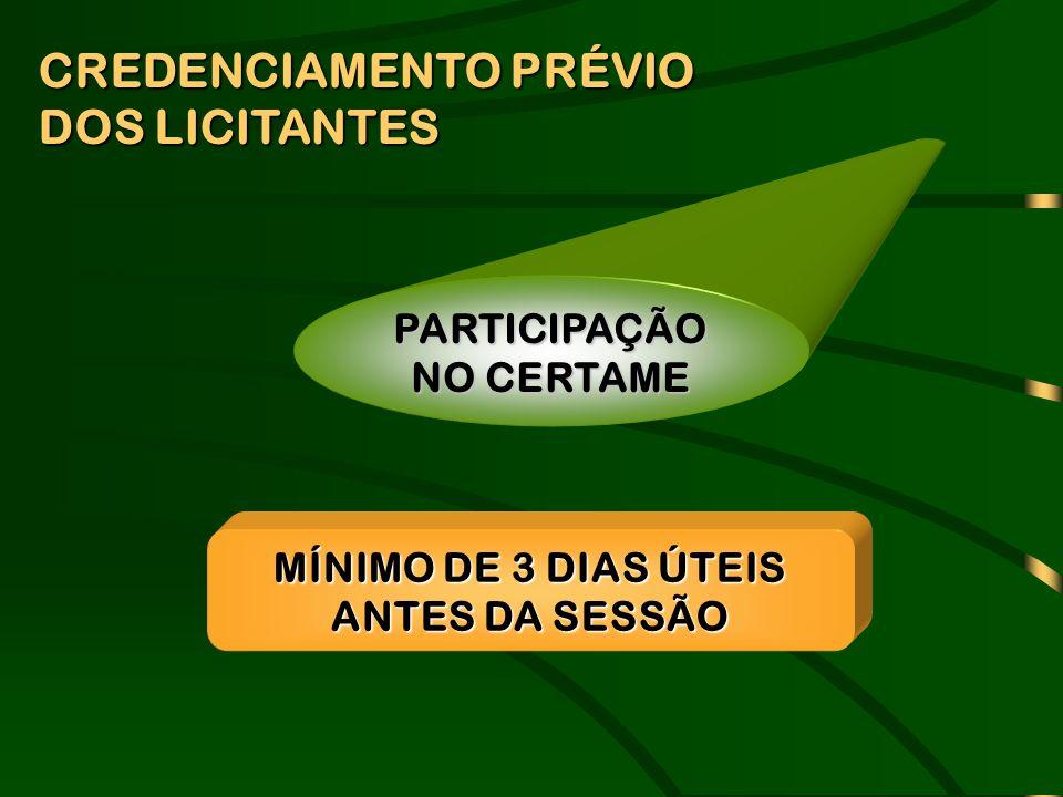 PARTICIPAÇÃO NO CERTAME MÍNIMO DE 3 DIAS ÚTEIS ANTES DA SESSÃO