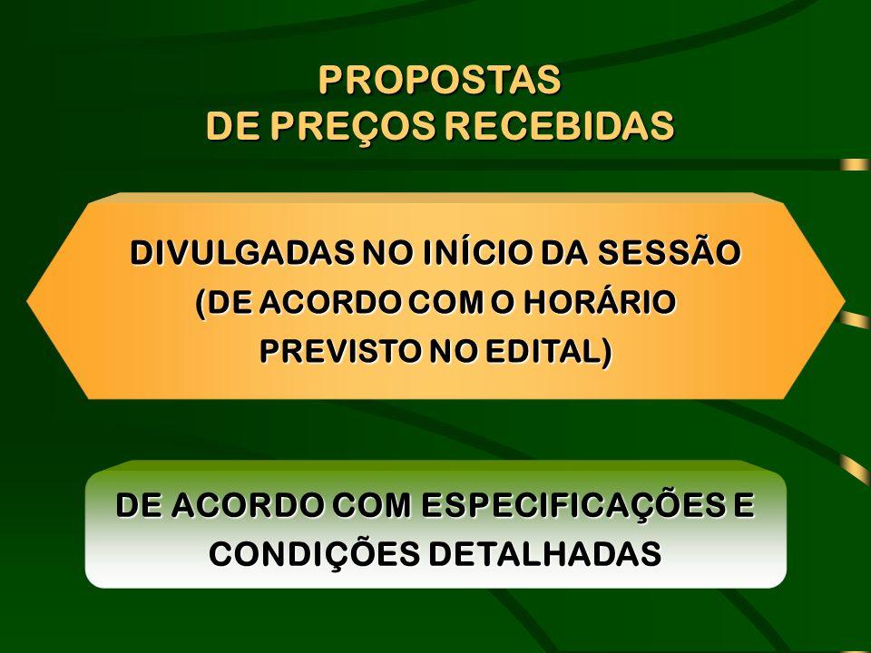 PROPOSTAS DE PREÇOS RECEBIDAS