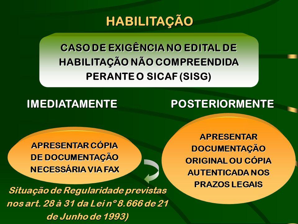 APRESENTAR CÓPIA DE DOCUMENTAÇÃO NECESSÁRIA VIA FAX