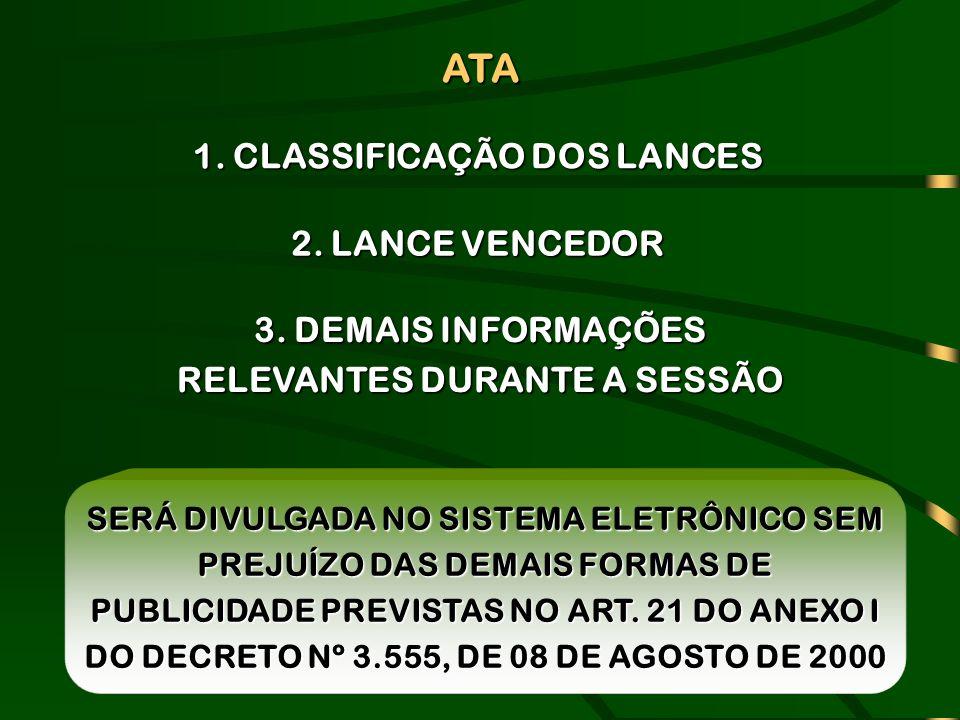 ATA 1. CLASSIFICAÇÃO DOS LANCES 2. LANCE VENCEDOR