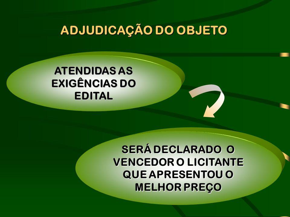 ADJUDICAÇÃO DO OBJETO ATENDIDAS AS EXIGÊNCIAS DO EDITAL