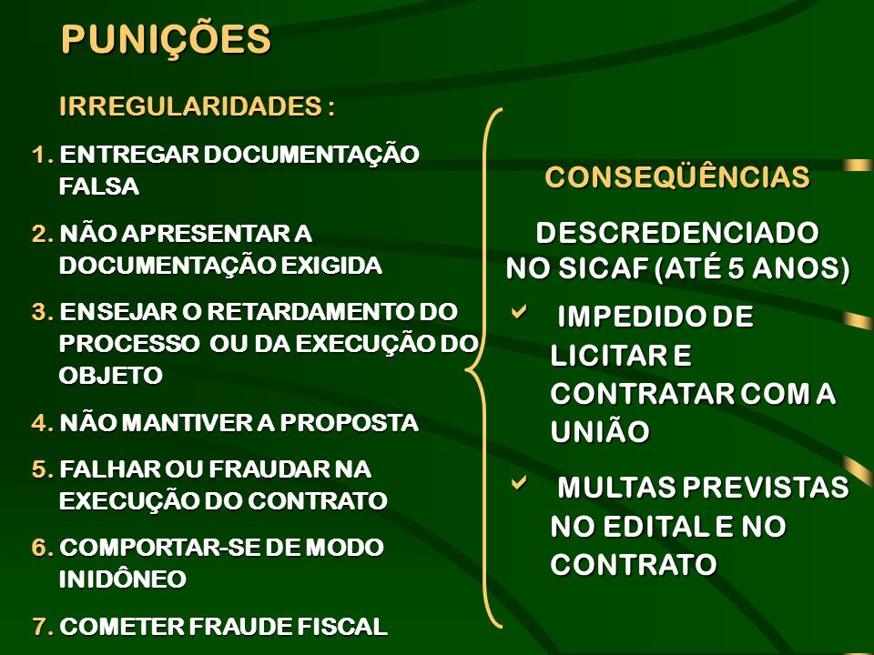 PUNIÇÕES CONSEQÜÊNCIAS DESCREDENCIADO NO SICAF (ATÉ 5 ANOS)