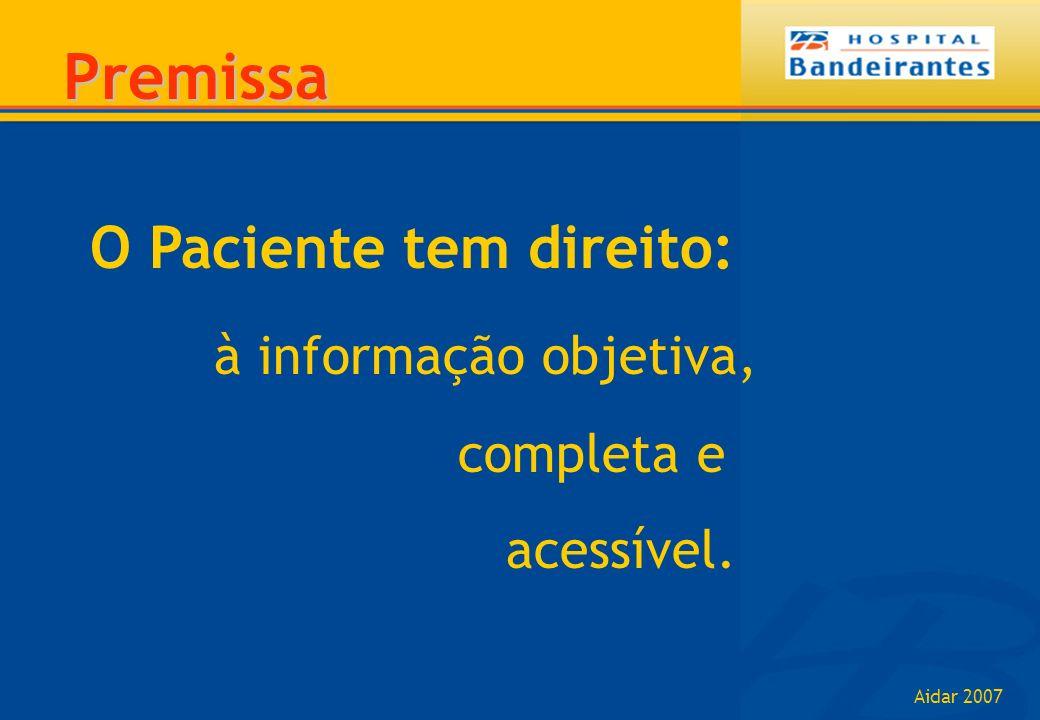 Premissa O Paciente tem direito: à informação objetiva, completa e