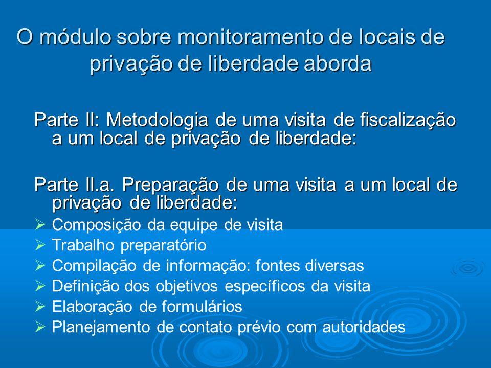 O módulo sobre monitoramento de locais de privação de liberdade aborda